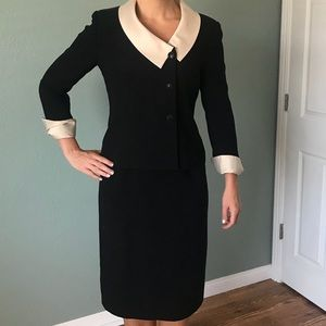 Black womens shirt suit with cream collar